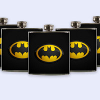 Groomsmen Personalized Custom Wedding Party Flask, Batman Logo Flask Set