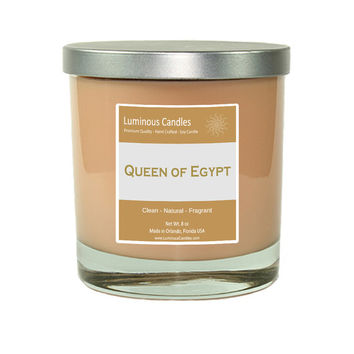 Soy Candle - Queen of Egypt Scented - 8 oz  Rock Glass Jar Candle with Brushed Metal Lid