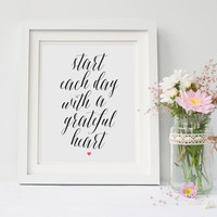 Start Each Day With a Grateful Heart Print, Calligraphy Quote, Bedroom Decor, Pink Heart, Office Decor, Inspirational Quote, Printable Art