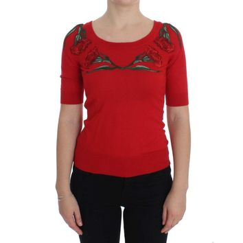Dolce & Gabbana Red Roses Applique Pullover Sweater