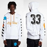 OFF-WHITE X NIKE black and white OW joint name black and white hoodie sweater white