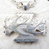 Antique Sterling Swallow Bird Pendant Necklace, Wonderful Details, Antique Fancy Silver Chain, Hallmarked 1890 - 1891, Victorian Era