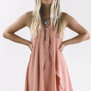 No Hard Times Blush Double Layer Ruffle Dress