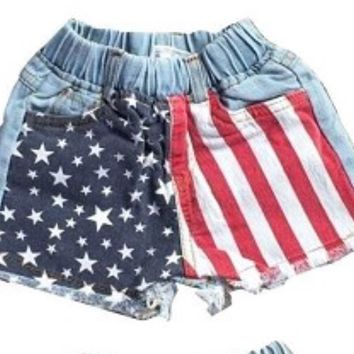 Star and stripes Denim shorts