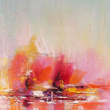 ORIGINAL Oil Painting Surfing in my Dreams 23 x 36 Palette Knife Colorful Textured Abstract Modern Contemporary Pink  ART by Marchella