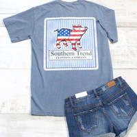 American Seersucker Proud Pig Short Sleeve Tee {Blue Jean}
