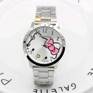 Hello Kitty Clock Women Dress Watch Hello Kitty Cartoon Watches Stainless Steel Watch Women Rhinestone Watches kids