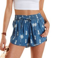 Blue Tropical Print Denim Dolphin Shorts by Charlotte Russe