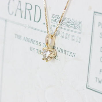 Antique Diamond Necklace | Diamond Solitaire Necklace | Something Old | Yellow Gold Necklace | Diamond Pendant | Dainty Single Diamond