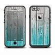 The Trendy Teal to White Aged Wood Planks Skin Set for the Apple iPhone 6 LifeProof Fre Case