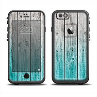 The Trendy Teal to White Aged Wood Planks Apple iPhone 6 LifeProof Fre Case Skin Set