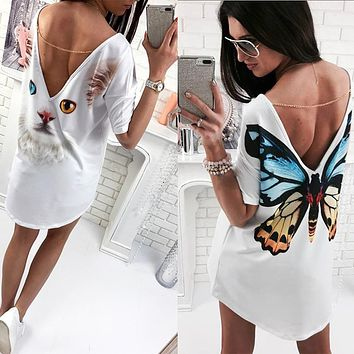 Women's Cat Butterfly Print O Neck V backless Short Sleeve Loose Mini Dress S-XL