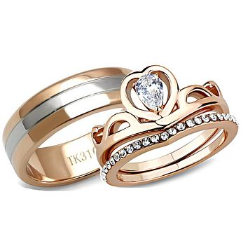 His Her Wedding Ring Set Crown CZ Rose Gold Stainless Steel