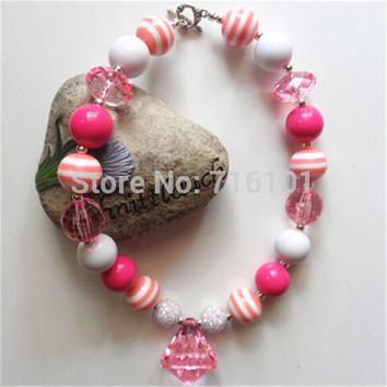 MHS.SUN Newest Design 2pcs Pink Color  Kid Chunky Necklace Infant Kid Girl Bubblegum Chunky Bead Necklace Jewlery For Children