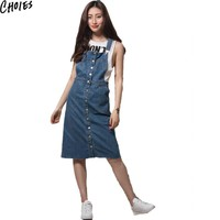 Women Blue Cute Spaghetti Strap Button Up Pockets Classic Overall Denim Midi Dress New Fashion Casual Cotton Summer Dresses