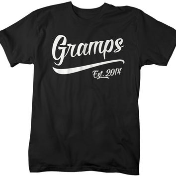 Men's Gramps Est. 2014 T-Shirt Grandpa Shirts Father's Day Gift Idea Established Grandfather Tee