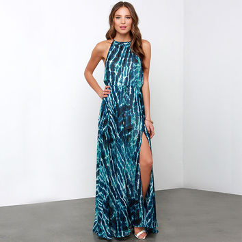 Abstract Print Halter Blouson Maxi Dress with Slit