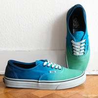 Mint green, azure & navy blue ombre Vans Authentic, dip dye upcycled vtg sneakers, skate shoes, size 42 (UK 8, US Men's 9, US Wmn's 10.5)