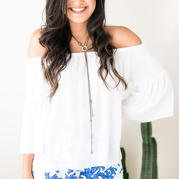 There For You White Off Shoulder Top