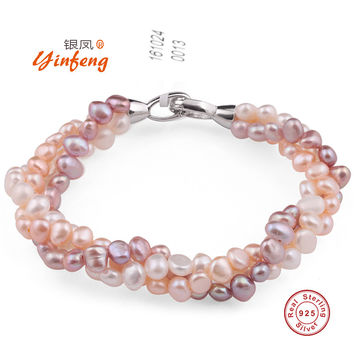 [YinFeng]Natural mixed color pearl bracelet pure handmade bangle Freshwater pearl with real 925 silver clasp fine jewelry