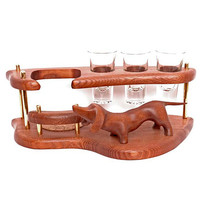 "Exclusive Wooden Mini Bar For Tequila or Vodka ""DACHSHUND"". Hand Made, Interior Design, Home Decor, Office Decor"