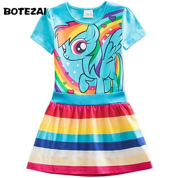 Retail Girls Dress Summer 2017 New Kids Dress Cartoon Girls Princess Children Dress Baby Girls Vestido 3 colors