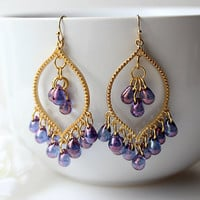 Purple Lustre Chandelier Earrings, Purple Bohemian Dangle Earrings, Amethyst purple Boho earrings, Czech glass Drop Earrings