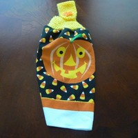 Pumpkin Hanging Dish Towel With Hand Knit Topper and Button Closure