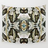 White Timber Snake Wall Tapestry by moodymuse
