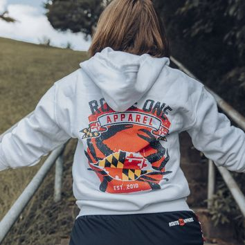 Route One Apparel Classic Flag & Crab (Heather Grey) / Zip Hoodie