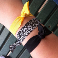 Damask fold over elastic hair tie pack