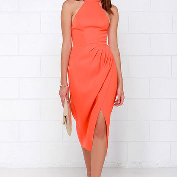Cameo Kiss Land Orange Midi Dress