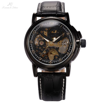 Classic Vintage KS Real Leather Strap Skeleton Black Golden Dial Dress Men's Automatic Wrap Wrist Mechanical Watch Men / KS036