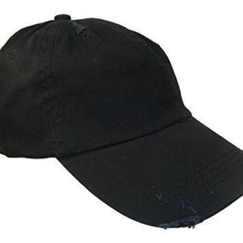 ESBONS Distressed Weathered Vintage Polo Style Baseball Cap (One Size, Black)