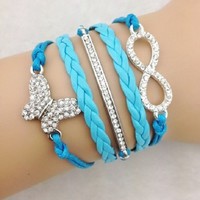 Infinity Bracelet, Butterfly Bracelet, Crystal Charm Braccelet, Blue Turquoise wax cord Breaded Leather, Friendship Gift