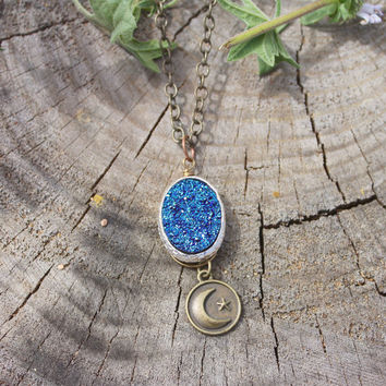 Blue Crystal Druzy + Crescent Moon and Stars Charm Necklace // Geometric Bohemian Long Pendant Necklace // Boho Necklace - Moon Jewelry