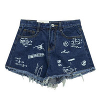 Denim Shorts with Tassel Hem