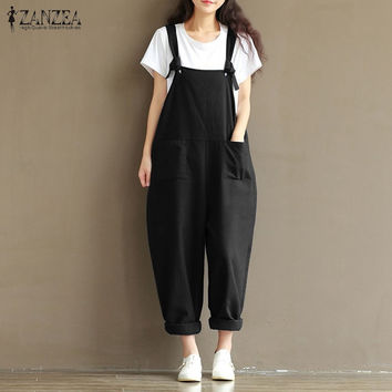 Newest ZANZEA Women Fashion Autumn Overalls 2017 Casual Sexy Rompers Womens Jumpsuit Loose Paysuits Plus Size S-5XL