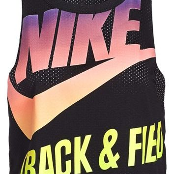 Women's Nike 'T/F' Dri-FIT Crop Mesh Top,