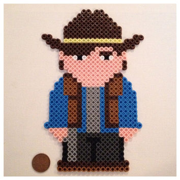 Carl Grimes Large Perler Art / Magnet The Walking by K8BitHero