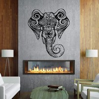 Wall Vinyl Sticker Decals Decor Art Bedroom Design Mural Ganesh Om Elephant Tatoo Head Mandala Tribal Home Yoga Hall Room Gift M1613