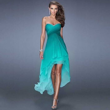 Gradually Dark Green Chiffon High Low Prom Dresses 2015 Vestidos De Festa Vestido Longo Tiered Ombre Bridesmaid Dress