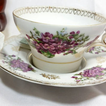Vintage Unmarked Teacup and Saucer/Purple Floral with Gold Trim Cup and Saucer/Tea Time Cup and Saucer