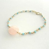 Wire wrapped turquoise bead pink quartz gold plated chain - AAA faceted bead dainty delicate designer celebrity free people inspired summer 2013
