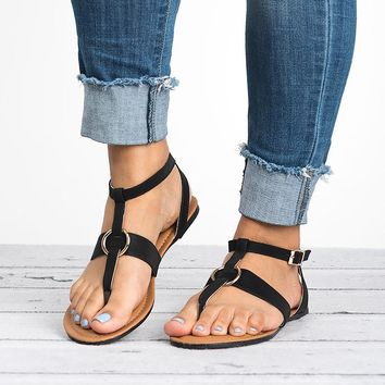 Rotate Thong Black Sandals