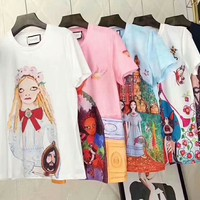 ''Gucci'' Unskilled Worker Prints Short Sleeve Pullover Round Neck T-Shirt 5 Style