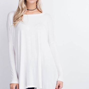 Solid Ivory Dolman Knit Tunic Top