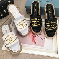 PRADA Trending Casual Letter Embroidery Sandal Slipper Shoes I-OMDP-GD