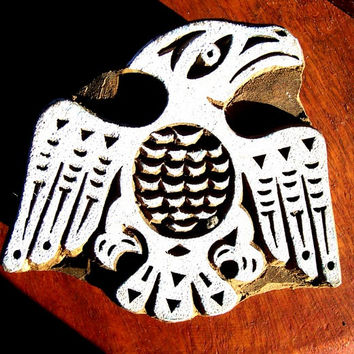 Native American Eagle Hand Carved Wood Stamp Animal Indian Print Block (S13))