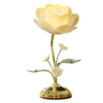 Lotus Flower Table Touch Lamp, Yellow